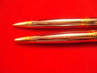 Chrome and Gold Tone Cross Pen Pencil Set Bradbury
