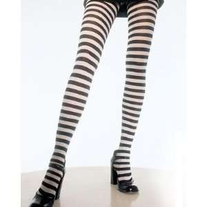 Plus Size Black White Stripe Tights Pantyhose Gothic