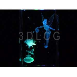 Disney Tinkerbell with Rose 3D Laser Etched Crystal S1