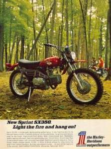 1971 Harley Davidson Sprint SX 350 Motorcycle Original Color Ad