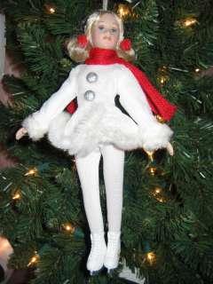 Porcelain & Jointed Girl Ice Skater Christmas Ornament