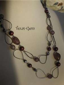 Premier Designs jewelry RHAPSODY necklace HEMATITE PURPLE beads 48