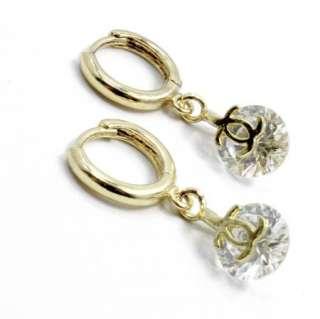 Gold 18k GF Earrings Hoop Huggie Swarovski White Crystal 10mm Designer