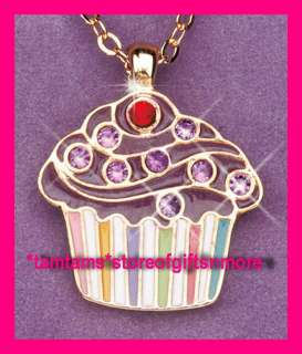 CUPCAKE GIRLS BIRTHSTONE CHARM & GOLD TONE CHAIN NECKLACE IN VELVET