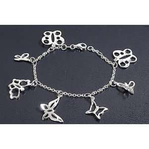 Sterling Silver Assorted Style Butterflies Charms Bracelet