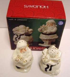 Holly Holiday Figural Santa/Toys Salt & Pepper Shakers