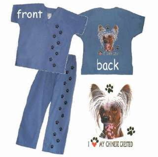 CHINESE CRESTED Scrub Set scrubs S, M, L, XL