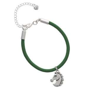 2 D Large Classic Horse Head Charm on a Kelly Green Malibu
