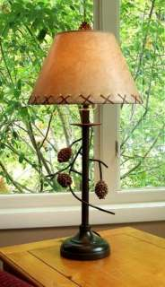 PAIR 28 Hanging Pinecone Table Lamps Pine Cone Rustic Adirondack