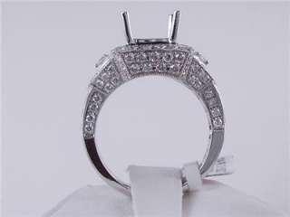52 CTW DIAMOND SEMI SET ENGAGEMENT RING WHITE GOLD