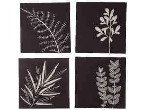 New Black White Leaves Decorative Frame Wall Decor 4PC