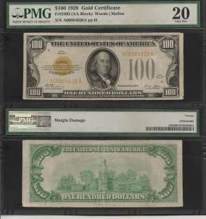 1928 $100 ONE HUNDRED DOLLAR BILL GOLD CERTIFICATE PMG |