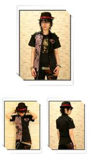 Plus size mens rock fashion punk DIY emo check shirts