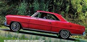 1967 CHEVROLET ~ CHEVY II NOVA SS SPORT COUPE(RED) MAGNET
