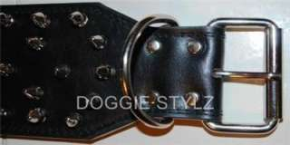 Black Leather Dog Collar Spike 17 21 Pitbull USA