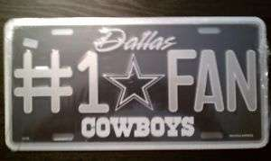 Dallas Cowboys #1 Fan Metal License Plate Football