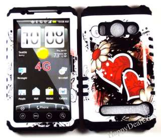 Silicone Rubber+Cover Case for Sprint HTC EVO 4G BK/Heart Daisy WT