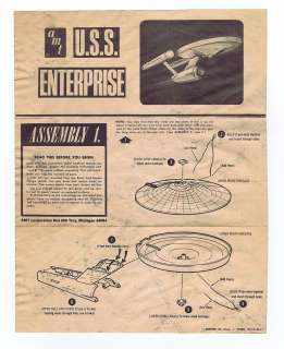 Star Trek USS Enterprise Model Instructions 1960s AMT