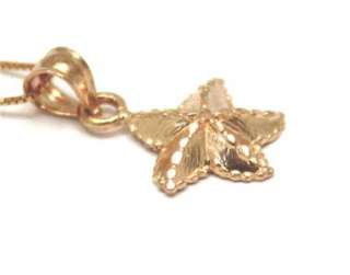 11MM SOLID 14K ROSE GOLD STARFISH PENDANT DIAMOND CUT