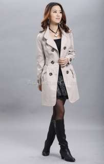 NEW Womens Double breasted Trench Coat Jacket Korean Style Beige Black