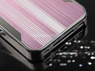 Pink Luxury Aluminum Chrome Hard Case Cover For iPhone 4 G 4S