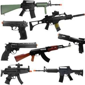 AMAZING 8 ELECTRIC POWERFUL AIRSOFT RIFLES AND PISTOLS ALL