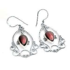 Victorian Style Framed Garnet Sterling Silver Earrings Jewelry