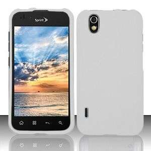 Sprint Boost Mobile LG LS855/Marquee Rubber Coated WHITE Snap On Case