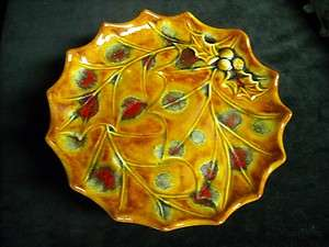 Holland Mold Footed Holly Plate With Brilliant Fall Colors