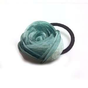 Beautiful Jade Color Rose Flower Hair Holder Ponytail