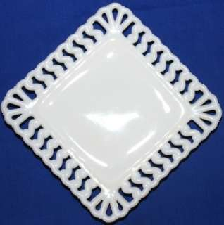 Vtg Westmoreland Glass Square S Lattice Milk Glass Salad Plate
