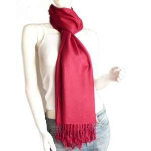 Red Solid Color 100% Cashmere Scarf Made in Scotland