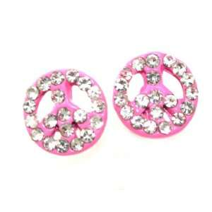 com Beautiful Small 1/2 Pink Enamel Peace Stud/Post Earings with Ice