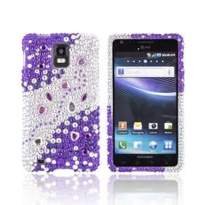 Purple Silver Hearts & Gems Bling Hard Plastic Case Cover For Samsung