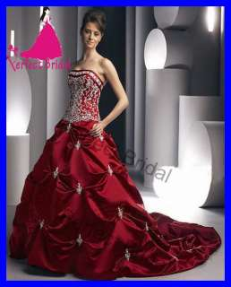 High Quality Red Satin Wedding Dress Bridal Gown Silvery Embroidery