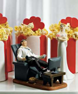 Funny Wedding Cake Toppers Couch Potato Groom w/Bride |