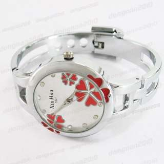 Clover Bracelet Quartz Ladies Women Heart Wrist Watch Stainless Steel