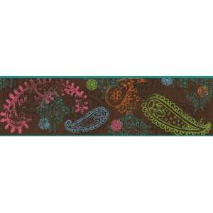 Paisley Chocolate Prepasted Wallpaper Border Home
