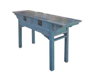 Blue Chinese Antique Butterfly Style Desk Altar Table WK2111