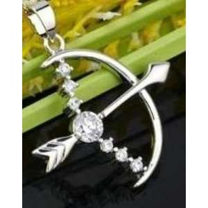 18 Karat White Gold Plated Bow & Arrow Pendant and Chain