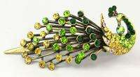 Old Fashion Bling Crystal Rhinestone Vintage Peacock Hair Clip