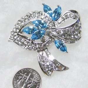 Dazzling BLUE Flower on Sparkling Clear Crystal Leaf