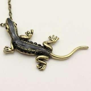 black gecko rhinestone Crystal alloy necklace XL098