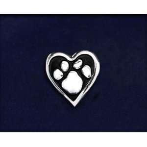 Animal Causes Pin   Paw Print Heart Tac Pin (50 Pins