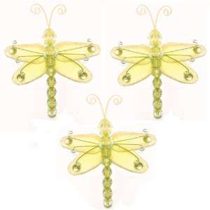 3 Yellow Mini (X Small) Wire Bead Dragonfly Dragonflies