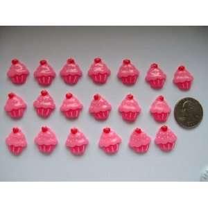 20 Resin Cabochon Flat Back Hot Pink Cupcake for Cellphones Scrapbook
