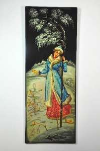 RUSSIA FEDOSKINO WALL LACQUER PLAQUE 16x6 SIGNED 1989