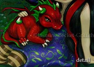Red Dragon Garden I gothic fairy fantasy art BIG PRINT