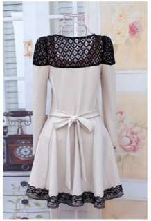 autumn simple smooth ruffles lace long sleeve short dress beige