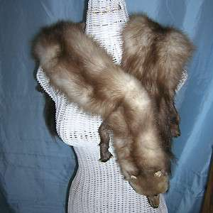Vintage Stone Marten Mink Fur Scarf Wrap or Shawl Full Body Minks with
